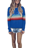 Round Neck Colorful Stripes Long Sleeve T-Shirts