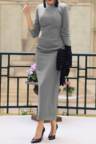 499b19f4c6 Round Neck Backless Plain Long Sleeve Maxi Dresses - Luvyle.com