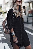 V Neck  Single Breasted  Plain  Long Sleeve Casual Dresses
