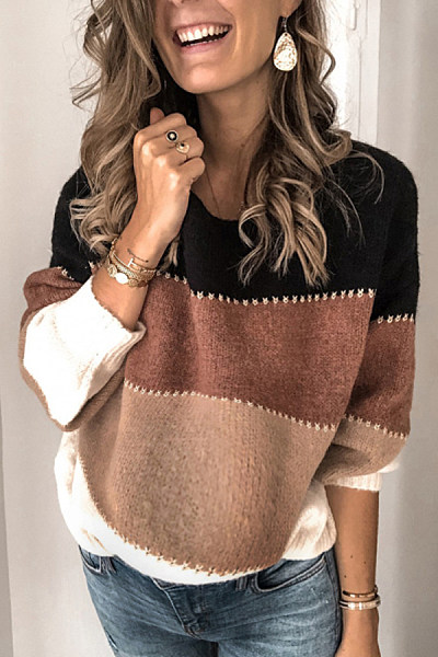 Maternity Casual patchwork long-sleeved sweater