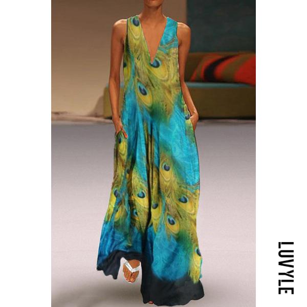 Bohemian V Neck Printed Colour Sleeveless Dress