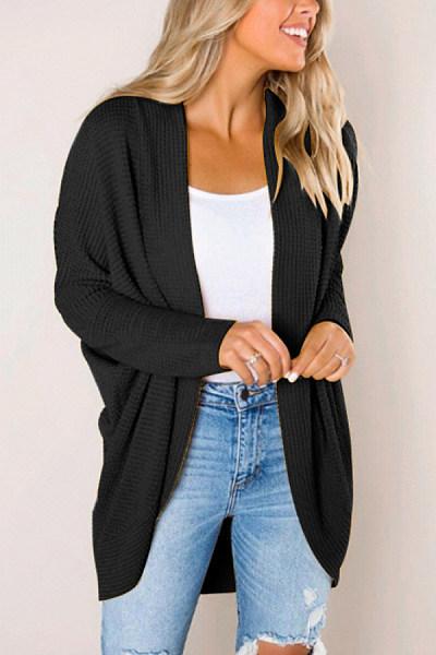 Collarless Long Sleeve Plain Outerwear