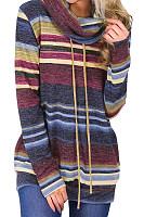 Cowl Neck Drawstring Striped Sweatshirts