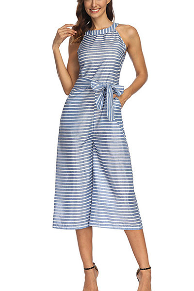 Halter  Belt  Striped  Sleeveless Jumpsuits