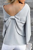 Spring Summer  Polyester  Women  V-Neck  Bowknot  Plain  Long Sleeve Blouses