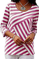 Casual Round Neck Striped Patchwork T-Shirts