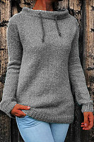 Round Neck Knit Long Sleeve Sweater