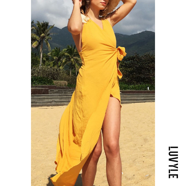 Yellow V Neck Asymmetric Hem Backless Belt Plain Sleeveless Maxi Dresses Yellow V Neck Asymmetric Hem Backless Belt Plain Sleeveless Maxi Dresses