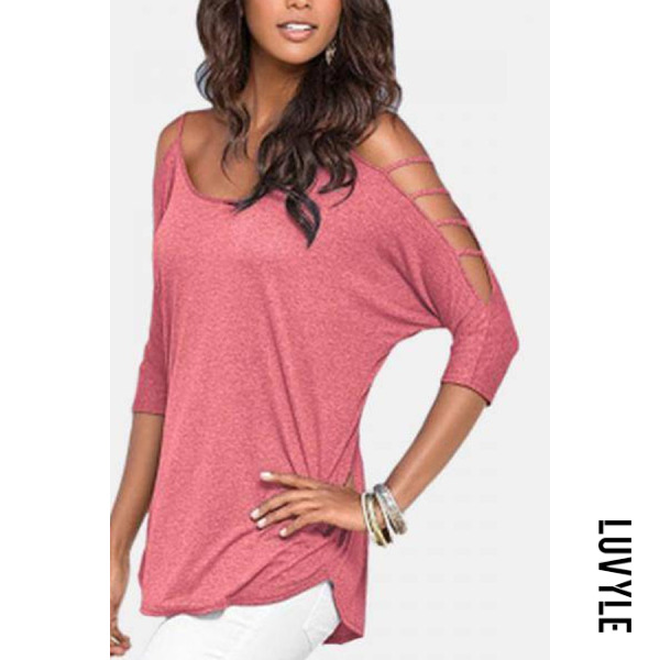 Red Open Shoulder Round Neck Hollow Out Plain T-Shirts Red Open Shoulder Round Neck Hollow Out Plain T-Shirts