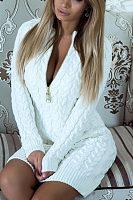 Deep V Neck  Zipper  Plain Sweater Bodycon Dresses