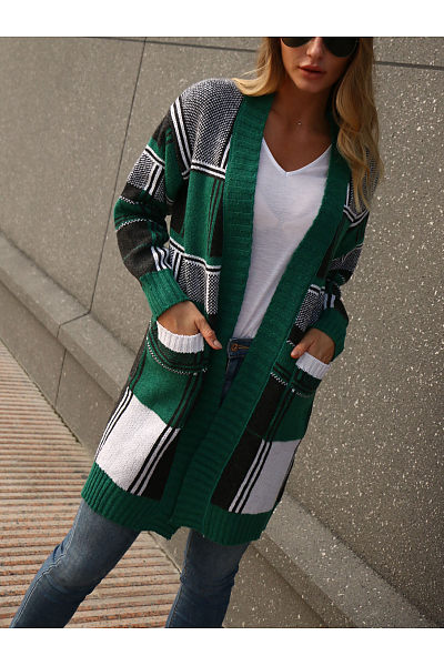 Snap Front  Checkered Cardigans