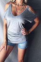 Open Shoulder V Neck  Plain T-Shirts