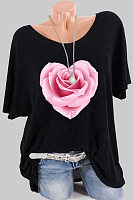Round Neck Flower Print Short Sleeve T-shirt