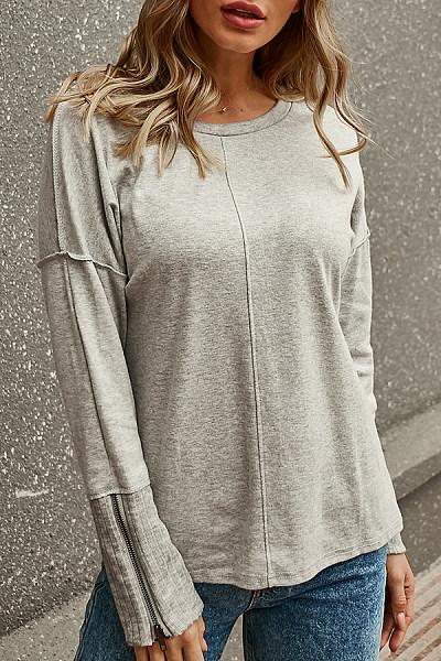 Round Neck  Zipper  Plain  Sweatshirts