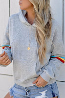 Hooded  Drawstring  Plain Striped Hoodies