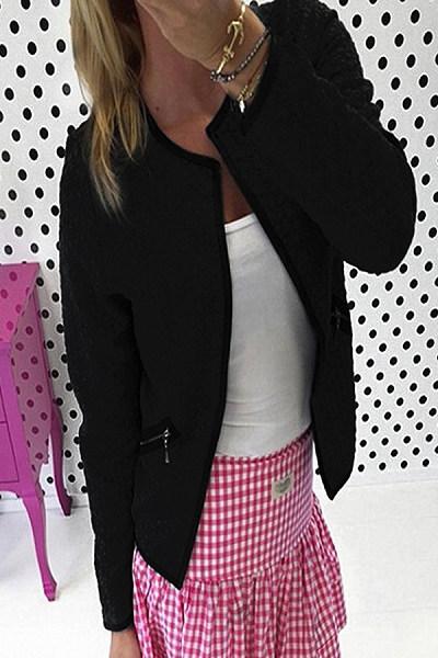 Collarless  Plain Outerwear