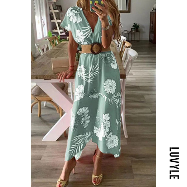 Green V Neck Floral Printed Short Sleeve Maxi Dresses Green V Neck Floral Printed Short Sleeve Maxi Dresses