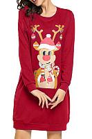 Casual Christmas print long long sleeve female dress
