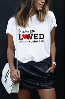 Round Neck Short Sleeve Letters T-shirt
