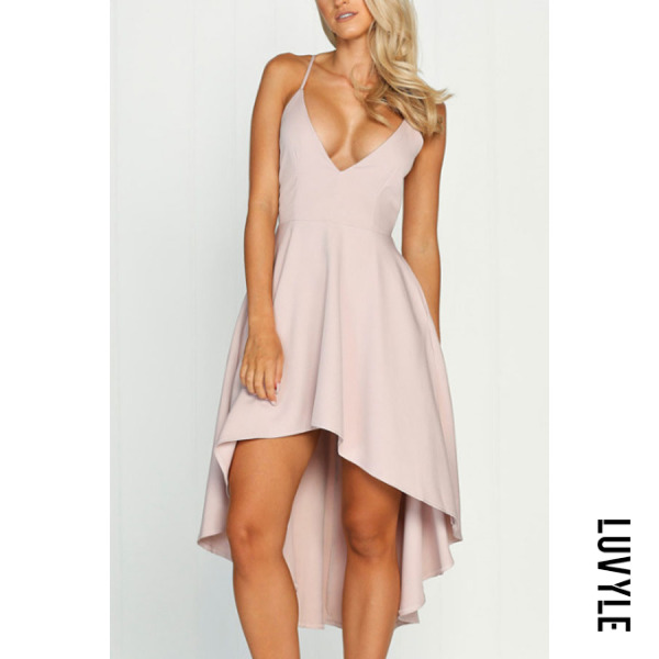 Pink Spaghetti Strap Asymmetric Hem Plain Skater Dresses Pink Spaghetti Strap Asymmetric Hem Plain Skater Dresses