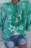 Casual Stand Collar Button Five-Pointed Star Print Sequin Pocket Long-Sleeved Shirt
