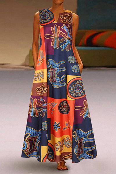 Bohemian vintage print crew neck dress