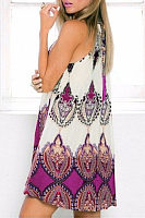 Open Shoulder Round Neck  Printed  Sleeveless Casual Dresses