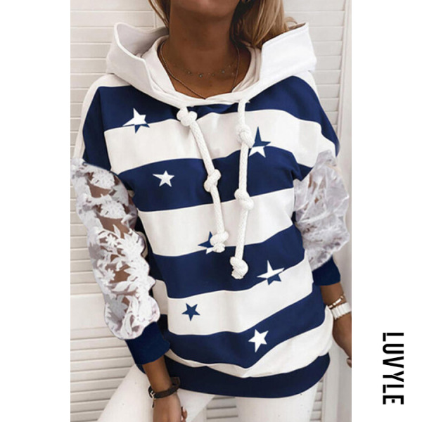 Dark Blue Star Striped Lace Sleeve Hoody Dark Blue Star Striped Lace Sleeve Hoody