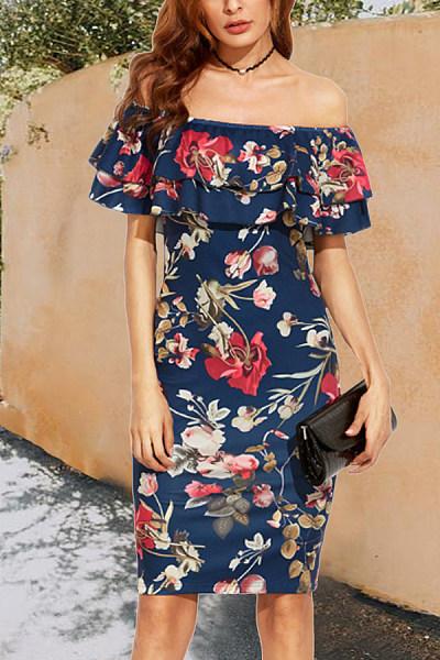 Open Shoulder  Flounce  Print Bodycon Dresses