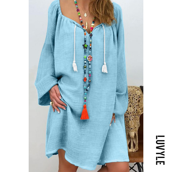 Light Blue Casual Cotton Long-Sleeved V-Neck Tie Multi-Color Dress Light Blue Casual Cotton Long-Sleeved V-Neck Tie Multi-Color Dress