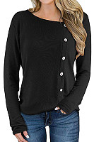 Round Neck Plain Decorative Buttons Long Sleeve T-shirt