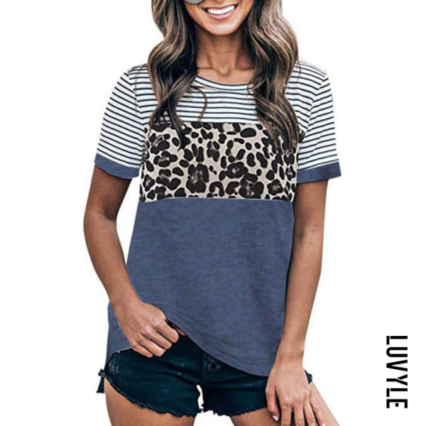 Round Neck Leopard Striped T-shirt
