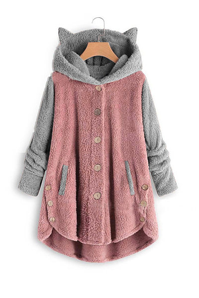 Casual ladies hooded cat ears plush mixed color coat