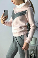 Hooded Colouring Casual  Two-Piece Outfits