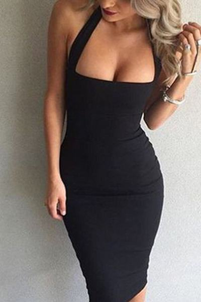 Halter Backless Plain Bodycon Dresses