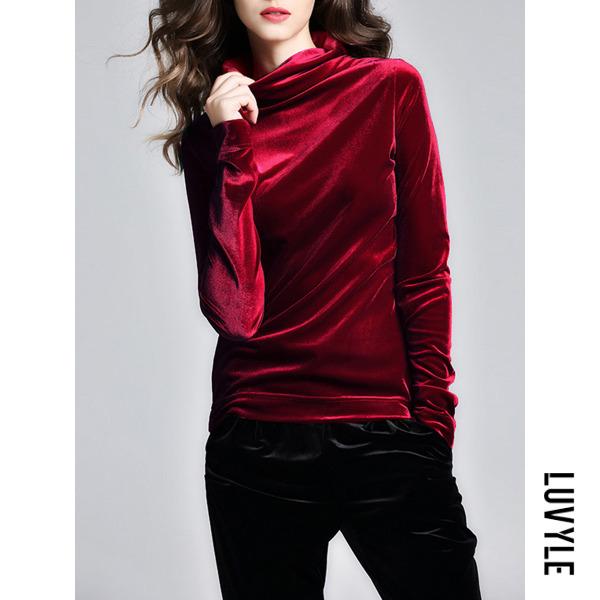 Red High Neck Solid Velvet Long Sleeve T-Shirt Red High Neck Solid Velvet Long Sleeve T-Shirt