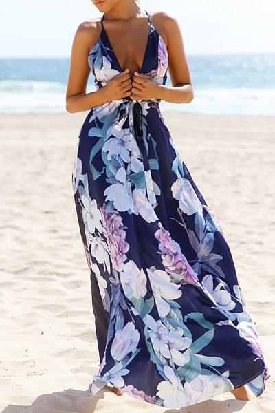 Deep V Neck  Backless  Floral Printed Maxi Dresses