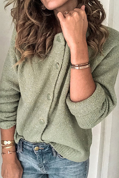 Women's casual pure color single-breasted long-sleeved sweater