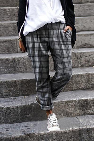 Womens Plaid Casual Pants