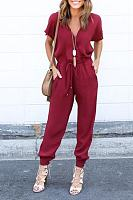 Chiffon V Neck Belt Loops Jumpsuits
