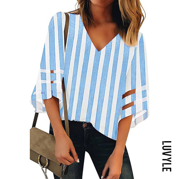 V Neck Plaid Elegant Striped Bell Sleeve Half Sleeve Blouses