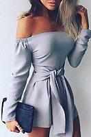 Off Shoulder  Belt  Plain  Long Sleeve  Playsuits
