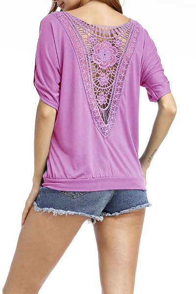 Round Neck  Patchwork  Hollow Out  Batwing Sleeve T-Shirts