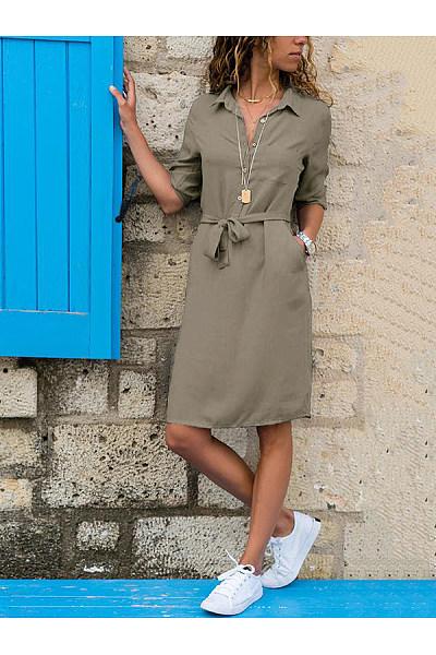 Lapel Solid Color Long Sleeve Shirt Shift Dress