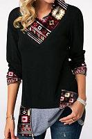 Turtle Neck  Zipper  Patchwork T-Shirts