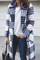 Fold Over Collar  Plaid Cardigans