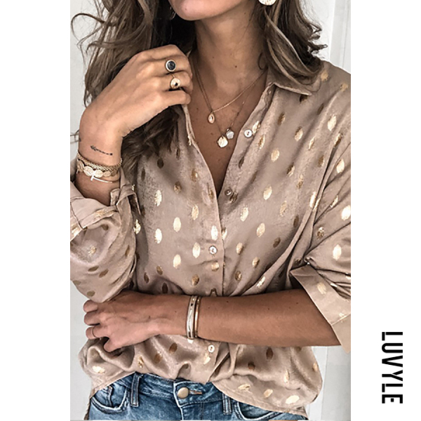 Women's Casual Deep V-Neck Long Sleeve Polka Dot Loose Blouse - from $27.00
