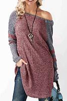 One Shoulder  Asymmetric Hem  Patchwork Sweaters