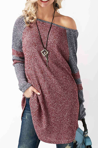 One Shoulder  Asymmetric Hem  Patchwork Sweaters