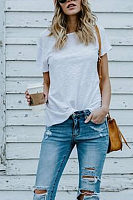 Round Neck  Plain Casual T-Shirts
